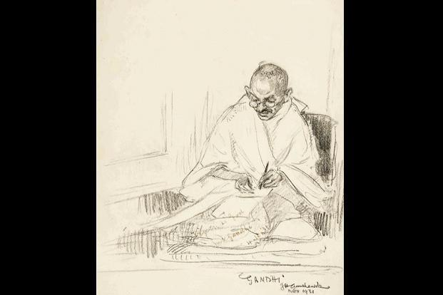 J h amshewitzs sketch of mahatma gandhi besides the sketch a collection of letters written