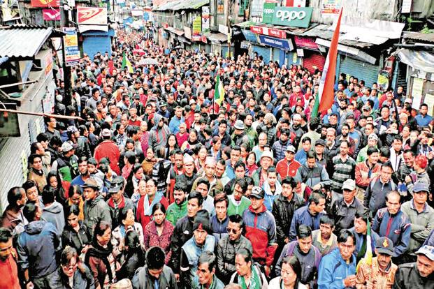 Protesters take out a rally in Darjeeling on Tuesday to demand statehood for Gorkhaland. Photo: PTI