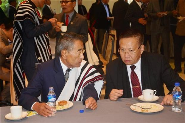 Nagaland chief minister Shurhozelie Liezietsu  (left) claimed that there would be no split in the NPF. Photo: PTI