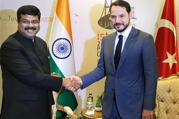 MoS for petroleum and natural gas, Dharmendra Pradhan meeting the Turkish energy minister Berat Albayrak, at the 22nd World Petroleum Congress, in Istanbul, Turkey on Wednesday. Photo: PTI