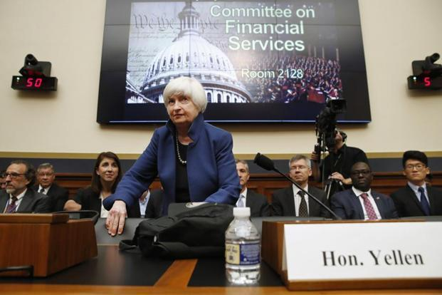 Federal Reserve chair Janet Yellen takes her seat on Capitol Hill in Washington, on 12 July 12, prior to testifying before the House Financial Services Committee. Photo:Jacquelyn Martin/AP