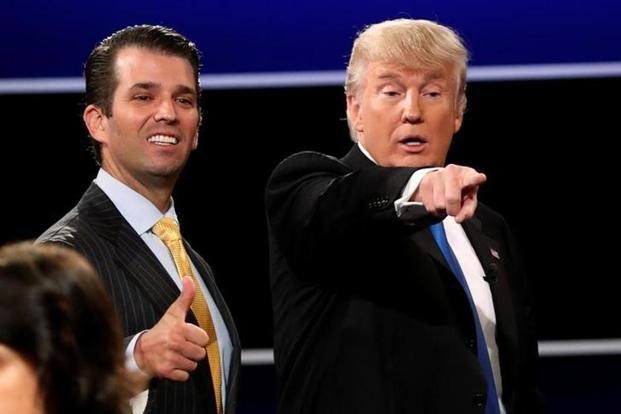 File photo of US President Donald Trump (left) with his son Donald Trump Jr. Reuters