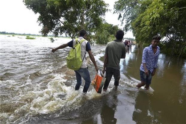 The flood situation in Assam is worsening with five more deaths reported on Wednesday. Photo: PTI