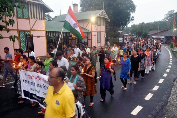 GJM supporters at a mass rally demand a separate state Gorkhaland during a protest in Sukna near Siliguri on Sunday. Photo: PTI