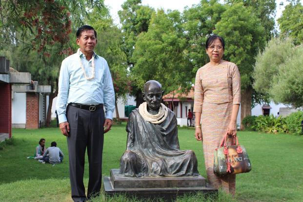 Myanmar's defence commander in chief senior general Min Aung Hlaing and his wife Daw Kyu Kyu Hla at the Gandhi Ashram in Ahmedabad. Photo: AFP