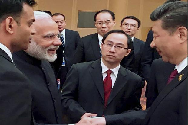 Prime Minister Narendra Modi and Chinese President Xi Jinping at the BRICS leaders' informal gathering at the G20 summit in Hamburg on 7 July. Photo: PTI