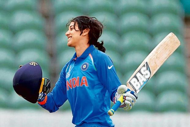 Smriti Mandhana celebrates after scoring a century against the West Indies. Photo: PTI