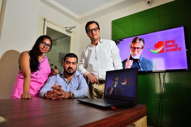(From left to right) Pallavi Roy, Saurabh Kumar and Navneet Kapoor  of Square Brand Communication Group. Photo: Priyanka Parashar/Mint