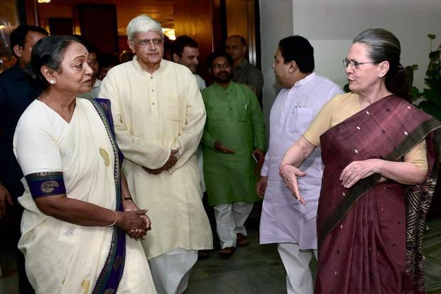 Sonia Gandhi with presidential candidate Meira Kumar (left) and vice-presidential candidate Gopalkrishna Gandhi after the UPA meeting in New Delhi on Sunday. PTI