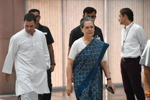 Congress' top brass met on Monday under the chairmanship of Sonia Gandhi to discuss the strategy for Monsoon Session of Parliament. Photo: AFP