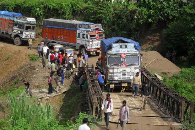 Representative image. The collapse of the Barak bridge has left around 200 goods-laden trucks coming from Jiribam town to Imphal stranded. Photo: Mint