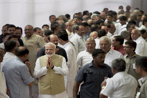 Narendra Modi was among the first to cast his vote in the parliament house complex to elect the next president of India. Photo: PTI
