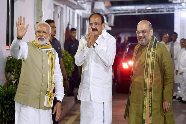 Union minister M. Venkaiah Naidu was on Monday named NDA's nominee for vice presidential election against opposition's Gopalkrishna Gandhi. Photo: PTI