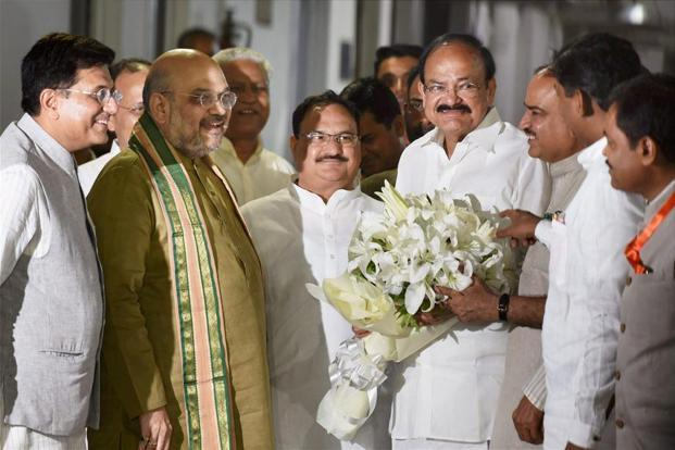 Vice presidential candidate M. Venkaiah Naidu with BJP President Amit Shah and other party leaders on Monday. The cabinet reshuffle is expected after the monsoon session of Parliament. Photo: PTI