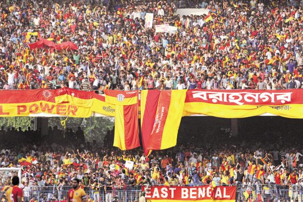 A file photo of East Bengal supporters during a match against Mohun Bagan. The two clubs have active fan bases running into hundreds of thousands of people. Photo: HT
