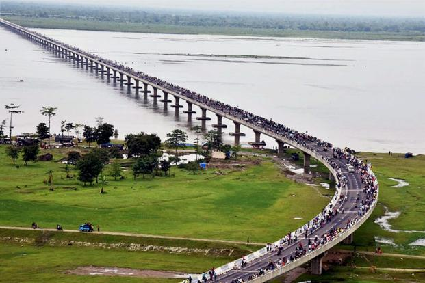 An aerial view of the Dhola-Sadia bridge across River Brahmaputra in Assam. The bridge has strategic significance since it is near Anini, 100km from China border, and can withstand the weight of a 60-tonne battle tank. Photo: PTI
