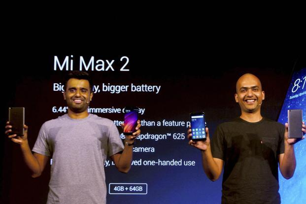 Xiaomi India head Manu Jain (right) and product lead Jai Mani during the launch of the Mi Max 2 on Tuesday. Photo: PTI
