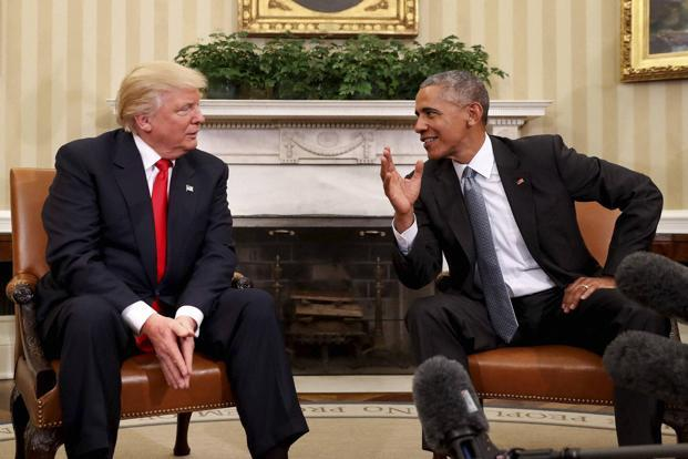 US President Donald Trump (left) and predecessor Barack Obama. The new US Healthcare Bill has so far failed to replace Obamacare, the Iran nuclear deal too remains ironclad. Photo: AP