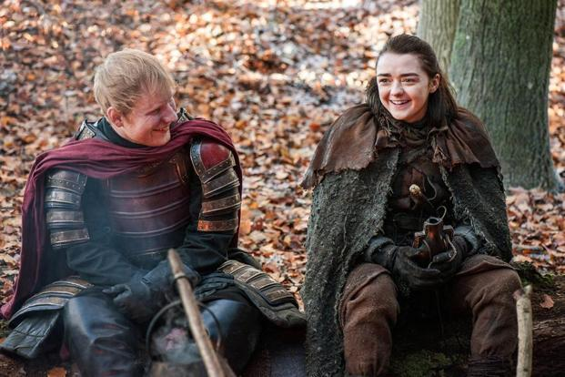 Ed Sheeran (left) and Maisie Williams in a scene from 'Game of Thrones.' previous top-rated Game of Thrones episodes, including the 8.11 million who watched the season five finale in 2015 and the 8 million who tuned in to that year's opener. Photo: AP