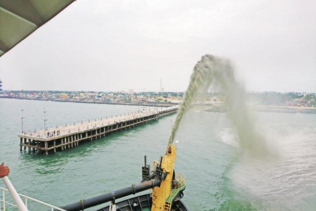 Dredging activity at Puducherry beach as part of the restoration project. Photo: Aurofilio Schiavina/Pondycan