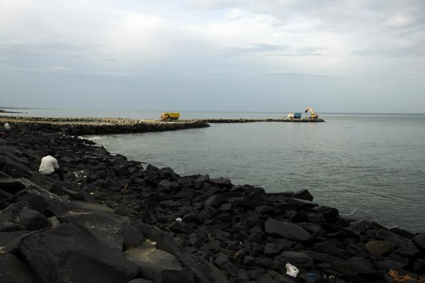 The construction of the North Reef at Puducherry beach. Photo: Ananda Banerjee/Mint