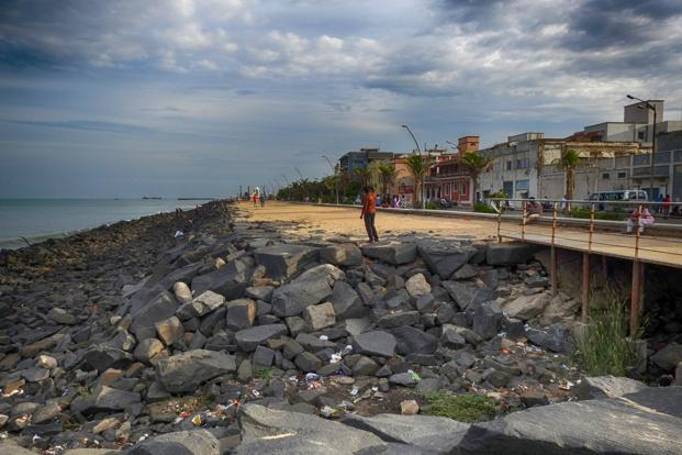 The Puducherry promenade and seawall. Photo: Ananda Banerjee/Mint