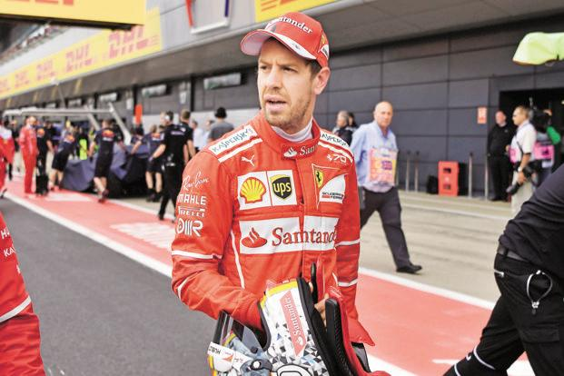 Sebastian Vettel after the qualifying session at Silverstone. Photo: AFP