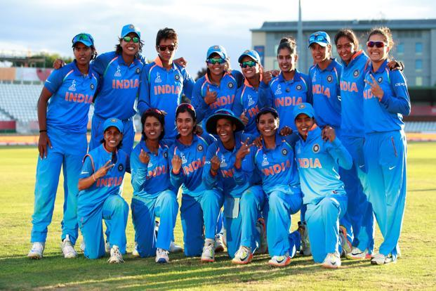 India women's cricket team celebrate their win against Australia in the 2nd semi final of the Women's World Cup on Thursday. Photo: Reuters