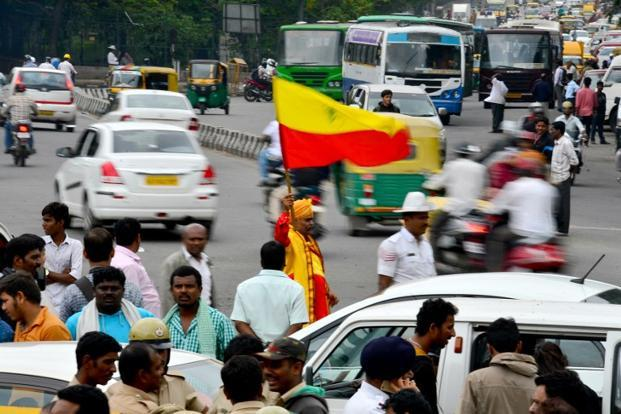 An activist waves a Karnataka flag during a protest in Bangalore on 12 June. Karnataka has already had an unofficial state flag since the mid-1960s, created by Ma Ramamurthy for a pro-Kannada political party called the Kannada Paksha. Photo: AFP
