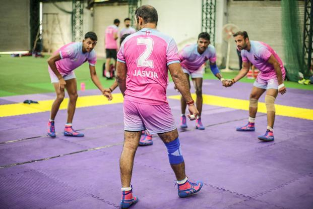 Jasvir Singh of the Jaipur Pink Panthers kabaddi team during a training session.