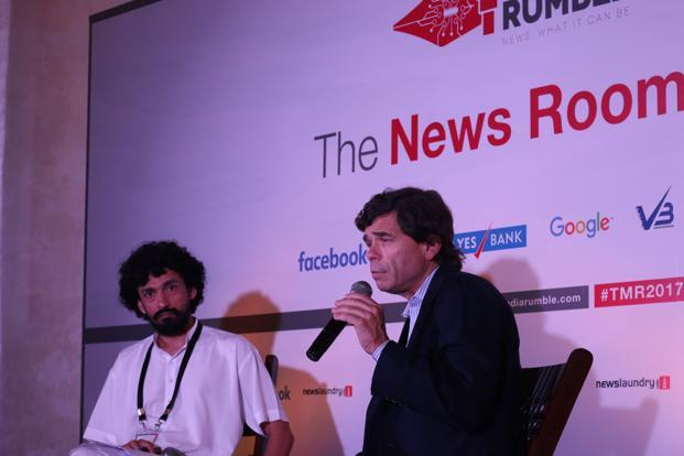 Michael Rezendes (right) at The Media Rumble, a news media conference in New Delhi. Photo courtesy: Newslaundry