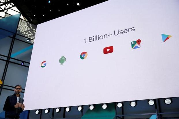 Google CEO Sundar Pichai's presentation at the annual developer conference in May in the US was all about simple, clutter-free slides. Photo: AFP