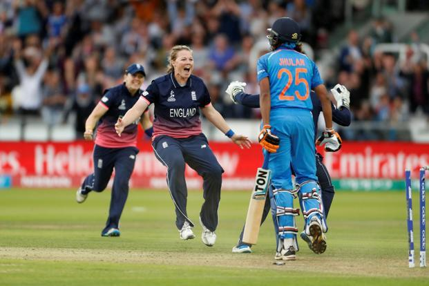 England's Anya Shrubsole celebrates bowling out India's Jhulan Goswami during the Women's World Cup final at the Lord's on Sunday. Photo: Reuters