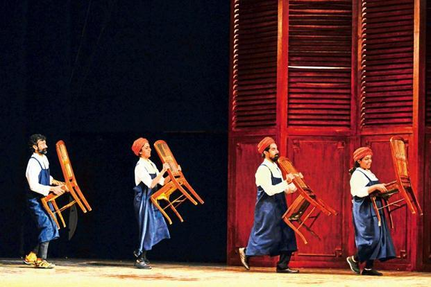 The back-up cast functions as 'elves', moving furniture and setting scenes. Photographs by Aniruddha Chowdhury/Mint