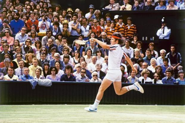 John McEnroe playing Björn Borg at the Wimbledon finals, 1980. Photo: Getty Images.