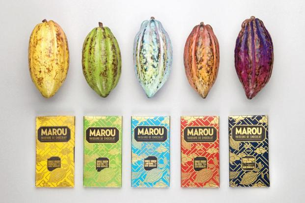 Marou Chocolate Bars and the cacao beans they come from.
