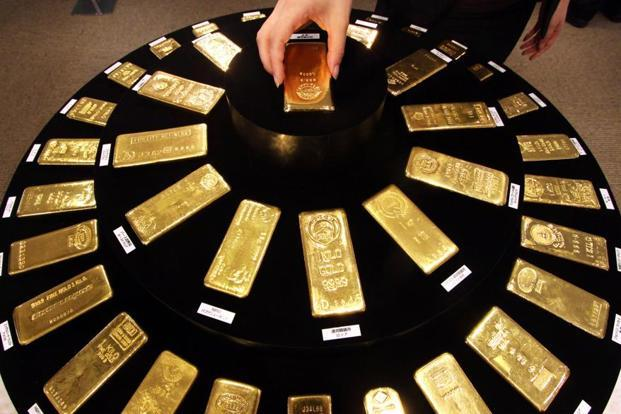 Spot gold hit its highest since 14 June at $1,270.98 in early trade on Monday, but was steady at $1,268.55 per ounce at 8:08am. Photo: Bloomberg