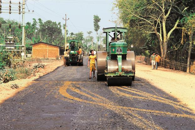 A road construction work in progress at Titabor in Assam. The India and Japan tie-up for infrastructure projects in Northeast India is also being viewed as an attempt to contain China in the region. Photo: Indranil Bhoumik/Mint