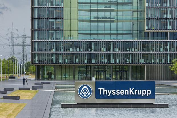 Thyssenkrupp shares briefly jumped as much as 3%. They were 0.3% higher at €25.66 of 10:12 am in Frankfurt. Photo: Bloomberg