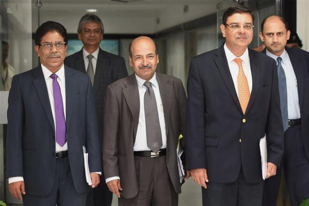 RBI governor Urjit Patel along with deputy governors BP Kanungo, NS Vishwanathan and Viral Acharya during a press conference to announce the RBI's monetary policy at its headquarters in Mumbai on Wednesday. Photo: PTI