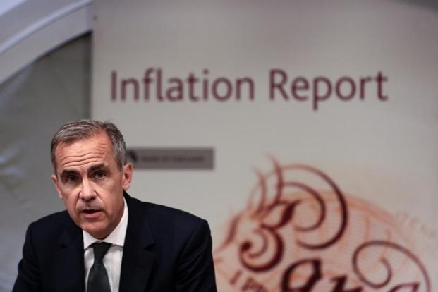 Bank of England governor Mark Carney speaks during the bank's quarterly inflation report news conference in London, on 3 August. Photo: Simon Dawson/Bloomberg