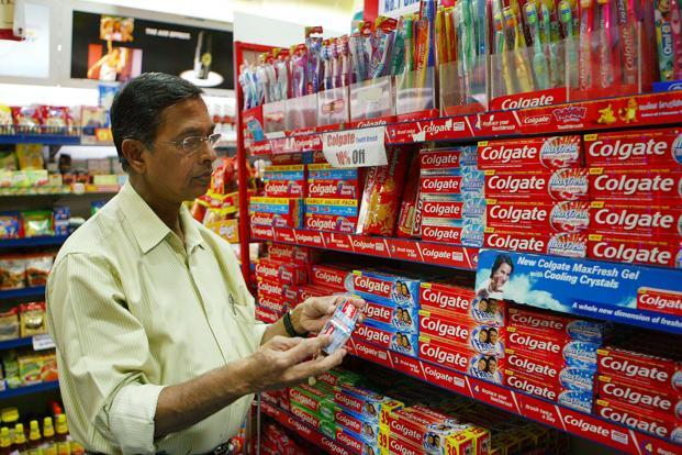 Shares of Colgate-Palmolive were trading at Rs1,096.20 at 1:54pm. Photo: Bloomberg