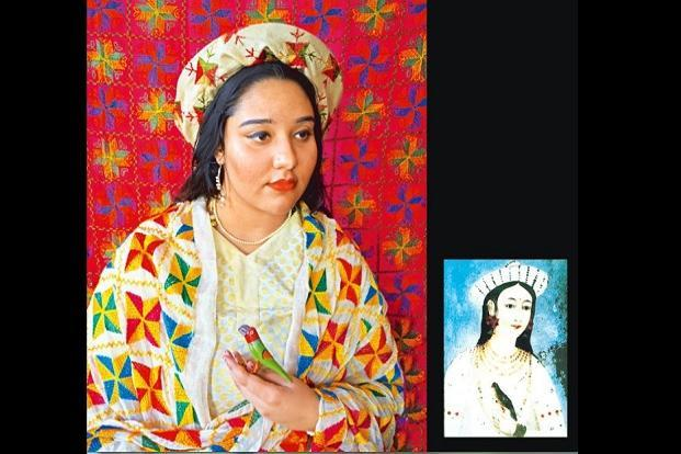 A painting, said to be of Mastani Bai, that has been recreated with the artist's sister, Maira Bose. Phulkari, drawn from the wardrobes of the artists and families of friends, has been used extensively for the costume as well as the backdrop. The headgear was a long time in the making, with the artists trying to wrap a 'dupatta' around an old straw hat. The image also features found objects such as a little wooden bird from Bose's home. Photo: Courtesy Pakhi Sen and Samira Bose.