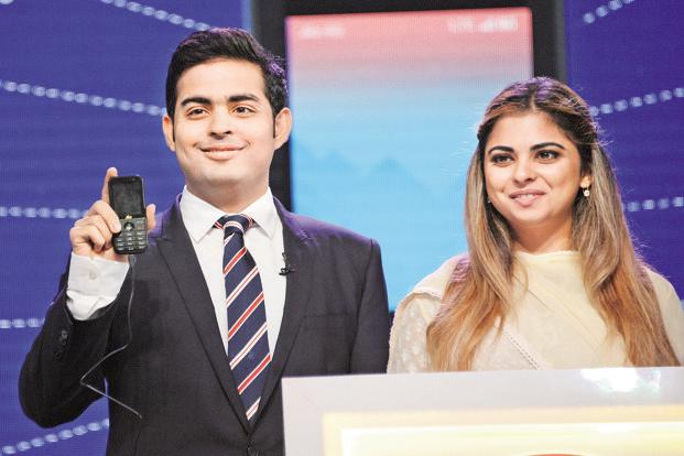 Akash Ambani and Isha Ambani at the Reliance JioPhone launch. The firm has started leveraging start-ups graduating from its GenNext  Hub start-up platform—launched with Microsoft Ventures in 2014—to push forward in areas like telecom and retail.