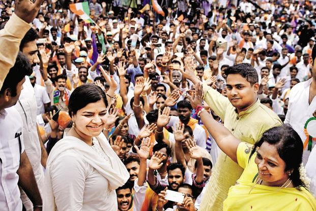 Head of BJP youth wing Poonam Mahajan during a rally in Chennai on Monday. Photo: PTI