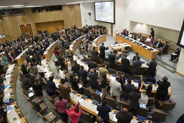 Delegates give a standing ovation after a vote by the conference to adopt a legally binding instrument to prohibit nuclear weapons, leading towards their total elimination, on 7 July 2017 at United Nations headquarters. Photo:Mary Altaffer/AP