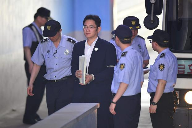 Lee Jae-yong, vice chair at Samsung Electronics, was indicted in February on charges including offering $38 million in bribes. Photo: AFP