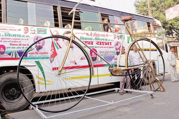 A model of the bicycle, the Samajwadi Party's election symbol, in Meerut. Photo: PTI