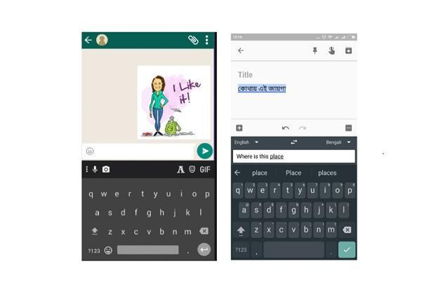 Google's Gboard app (right) offers the option to translate within the keyboard.