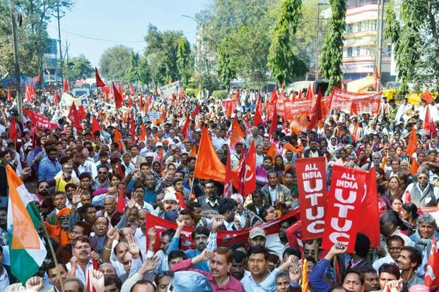 A statement issued by the 10 central trade unions on Tuesday said they have decided to launch their protest against the government over giving no heed to their 12-point charter of demands. Photo: HT